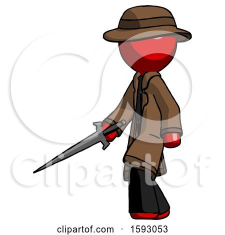 Red Detective Man with Sword Walking Confidently by Leo Blanchette