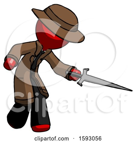 Red Detective Man Sword Pose Stabbing or Jabbing by Leo Blanchette