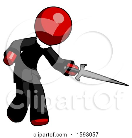Red Clergy Man Sword Pose Stabbing or Jabbing by Leo Blanchette