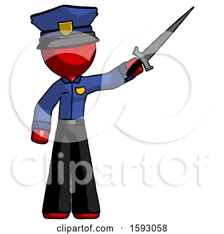 Red Police Man Holding Sword in the Air Victoriously by Leo Blanchette