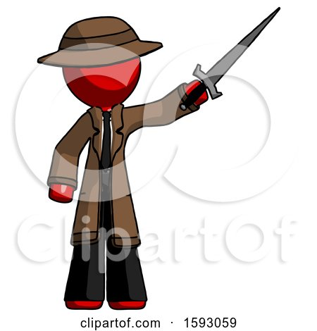Red Detective Man Holding Sword in the Air Victoriously by Leo Blanchette
