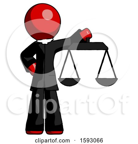 Red Clergy Man Holding Scales of Justice by Leo Blanchette