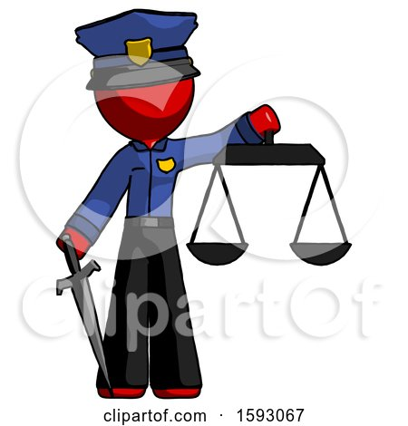 Red Police Man Justice Concept with Scales and Sword, Justicia Derived by Leo Blanchette