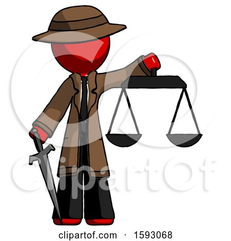 Red Detective Man Justice Concept with Scales and Sword, Justicia Derived by Leo Blanchette