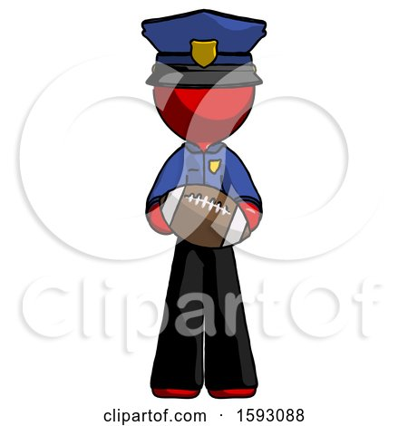 Red Police Man Giving Football to You by Leo Blanchette