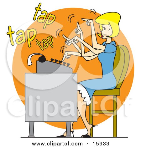 Pretty Blond Woman In A Blue Dress, Typing Extremely Fast On A Typewriter Posters, Art Prints