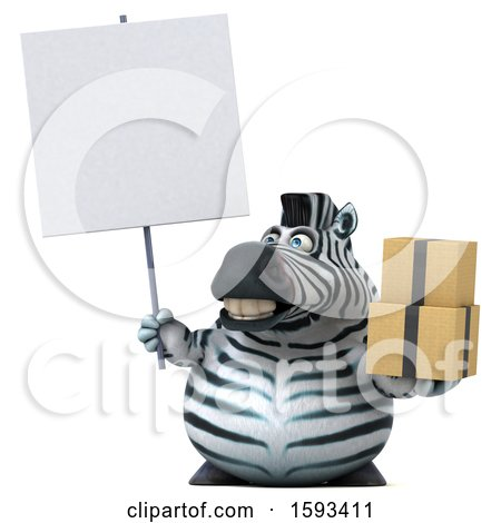 Clipart of a 3d Zebra Holding Boxes, on a White Background - Royalty Free Illustration by Julos