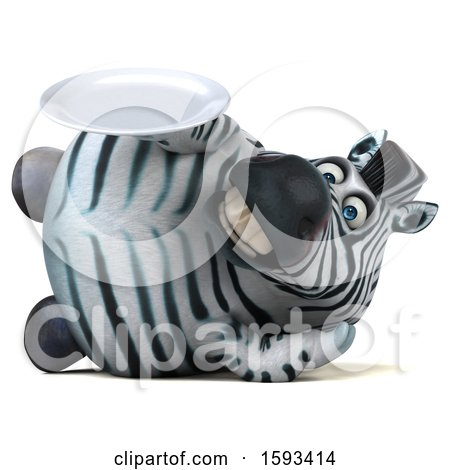 Clipart of a 3d Zebra Holding a Plate, on a White Background - Royalty Free Illustration by Julos