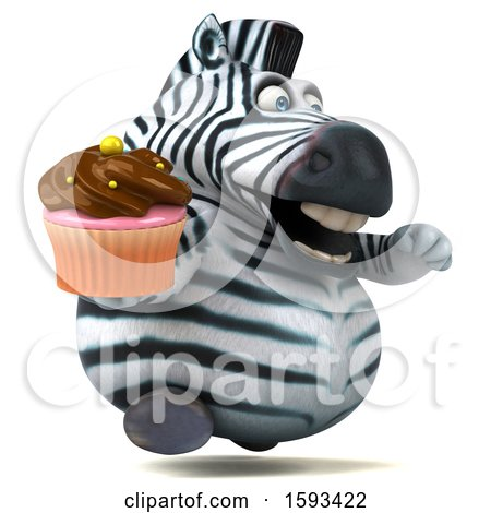 Clipart of a 3d Zebra Holding a Cupcake, on a White Background - Royalty Free Illustration by Julos