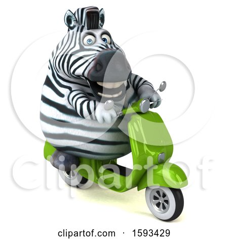 Clipart of a 3d Zebra Riding a Scooter, on a White Background - Royalty Free Illustration by Julos