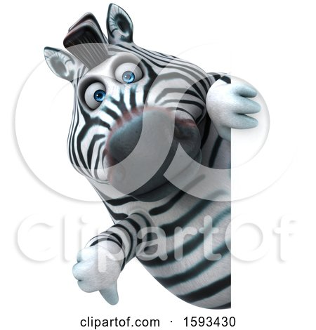 Clipart of a 3d Zebra Holding a Thumb Down, on a White Background - Royalty Free Illustration by Julos