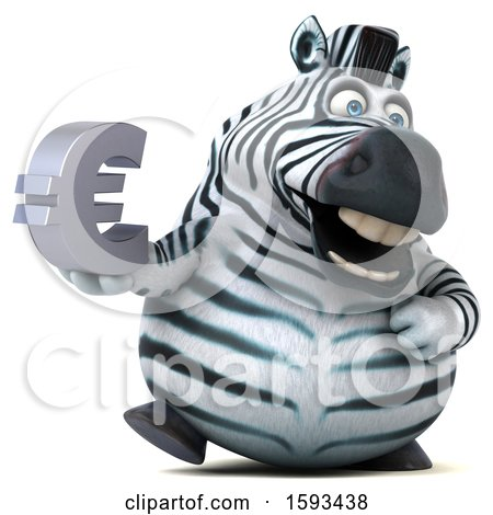 Clipart of a 3d Zebra Holding a Euro, on a White Background - Royalty Free Illustration by Julos