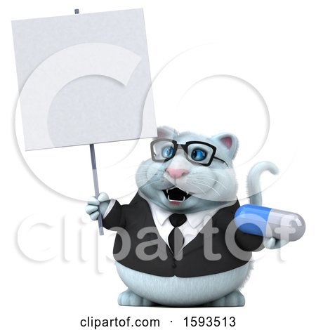 Clipart of a 3d White Business Kitty Cat Holding a Pill, on a White Background - Royalty Free Illustration by Julos