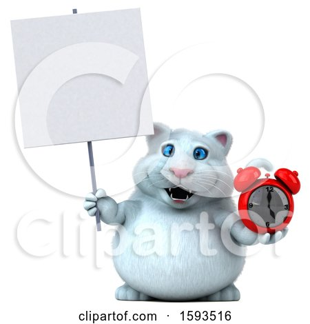 Clipart of a 3d White Kitty Cat Holding an Alarm Clock, on a White Background - Royalty Free Illustration by Julos