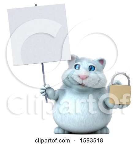 Clipart of a 3d White Kitty Cat Holding a Padlock, on a White Background - Royalty Free Illustration by Julos