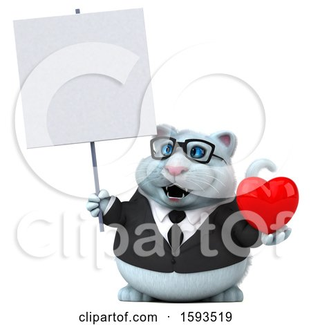 Clipart of a 3d White Business Kitty Cat Holding a Heart, on a White Background - Royalty Free Illustration by Julos