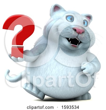 Clipart of a 3d White Kitty Cat Holding a Question Mark, on a White Background - Royalty Free Illustration by Julos