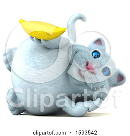 Clipart of a 3d White Kitty Cat Holding a Banana, on a White Background - Royalty Free Illustration by Julos