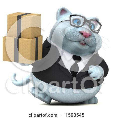 Clipart of a 3d White Business Kitty Cat Holding Boxes, on a White Background - Royalty Free Illustration by Julos
