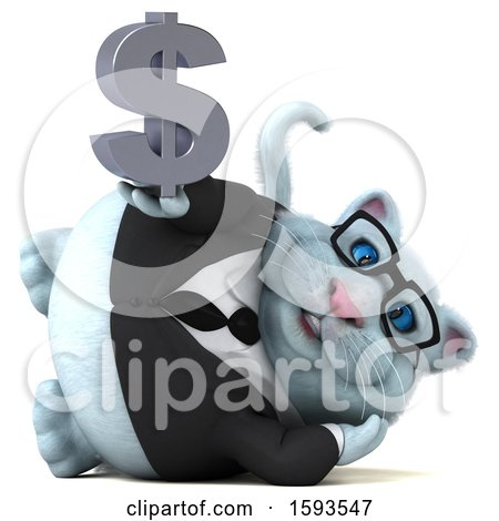 Clipart of a 3d White Business Kitty Cat Holding a Dollar Sign, on a White Background - Royalty Free Illustration by Julos
