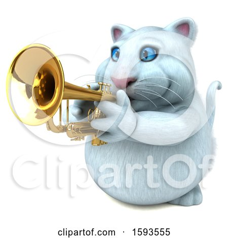Clipart of a 3d White Kitty Cat Holding a Trumpet, on a White Background - Royalty Free Illustration by Julos