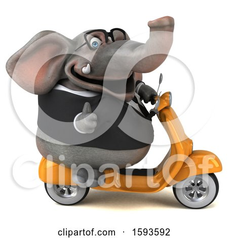 Clipart of a 3d Business Elephant Riding a Scooter, on a White Background - Royalty Free Illustration by Julos