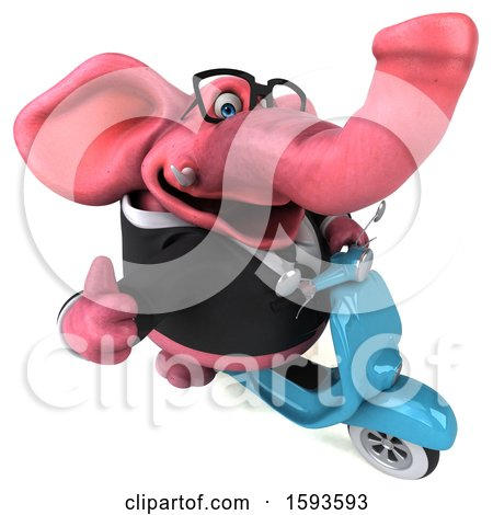 Clipart of a 3d Pink Business Elephant Riding a Scooter, on a White Background - Royalty Free Illustration by Julos