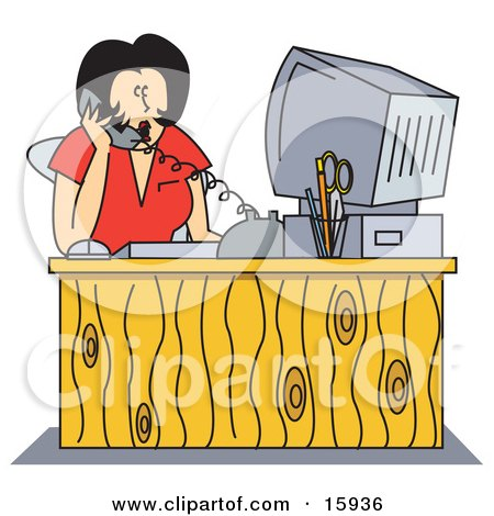 Shocked Female Receptionist Taking A Telephone Call While Seated  In Front Of Her Computer At Her Office Desk Posters, Art Prints