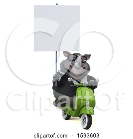 Clipart of a 3d Business Rhinoceros Riding a Scooter, on a White Background - Royalty Free Illustration by Julos
