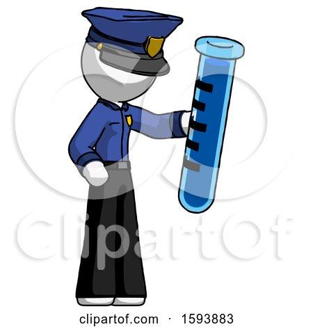 White Police Man Holding Large Test Tube by Leo Blanchette