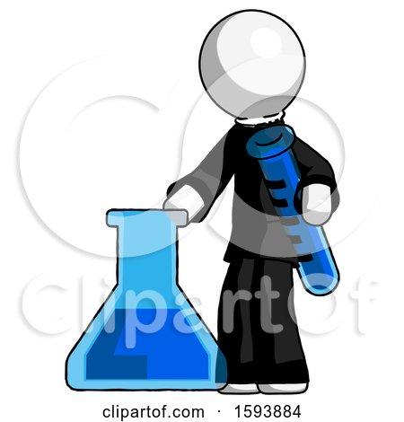 White Clergy Man Holding Test Tube Beside Beaker or Flask by Leo Blanchette