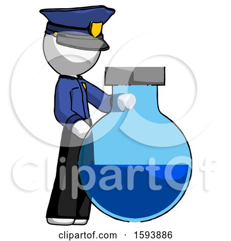 White Police Man Standing Beside Large Round Flask or Beaker by Leo Blanchette