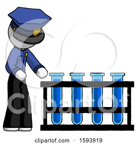 White Police Man Using Test Tubes or Vials on Rack by Leo Blanchette