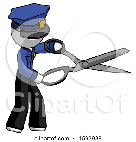 White Police Man Holding Giant Scissors Cutting out Something by Leo Blanchette