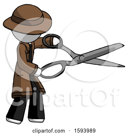 White Detective Man Holding Giant Scissors Cutting out Something by Leo Blanchette