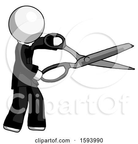 White Clergy Man Holding Giant Scissors Cutting out Something by Leo Blanchette