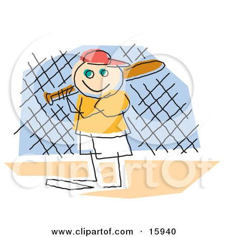 Childlike Drawing Of A Little Boy Playing Baseball, Standing At Home Base And Ready To Bat Clipart Illustration by Andy Nortnik