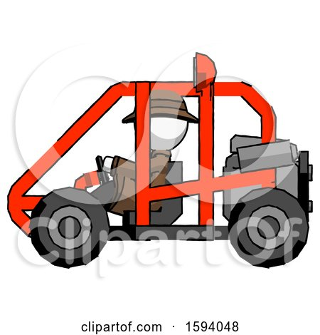 White Detective Man Riding Sports Buggy Side View by Leo Blanchette