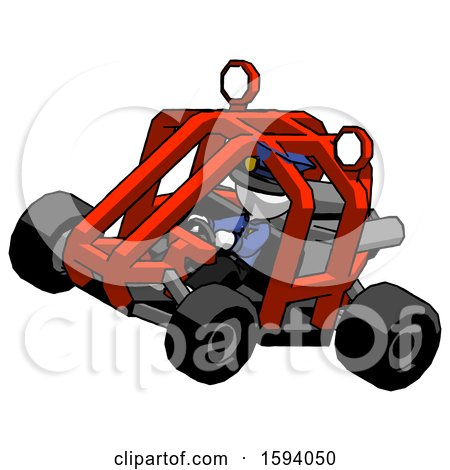 White Police Man Riding Sports Buggy Side Top Angle View by Leo Blanchette