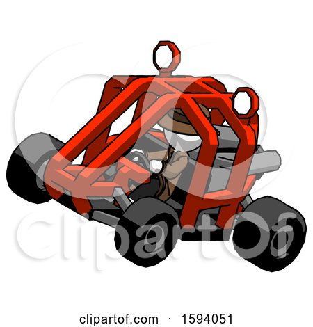 White Detective Man Riding Sports Buggy Side Top Angle View by Leo Blanchette