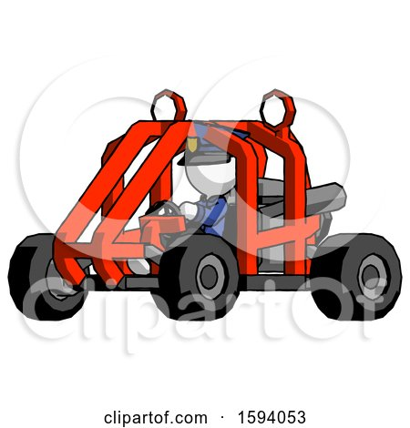 White Police Man Riding Sports Buggy Side Angle View by Leo Blanchette