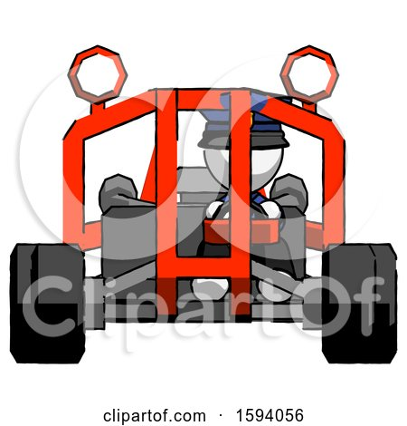 White Police Man Riding Sports Buggy Front View by Leo Blanchette