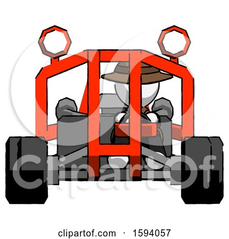 White Detective Man Riding Sports Buggy Front View by Leo Blanchette
