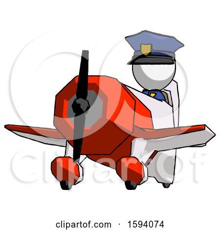 White Police Man Flying in Geebee Stunt Plane Viewed from Below by Leo Blanchette