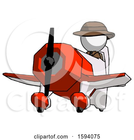White Detective Man Flying in Geebee Stunt Plane Viewed from Below by Leo Blanchette