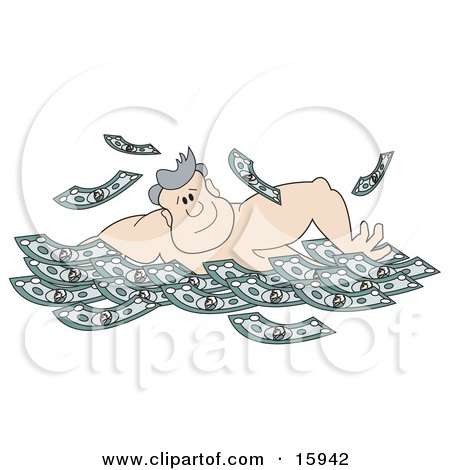 Strong Man Swimming In A Pool Full Of Cash Posters, Art Prints