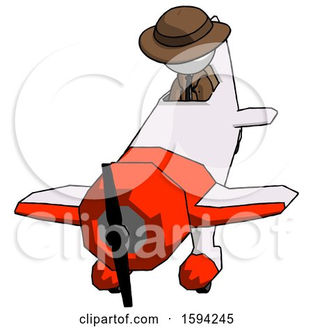 White Detective Man in Geebee Stunt Plane Descending Front Angle View by Leo Blanchette