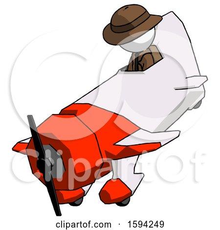 White Detective Man in Geebee Stunt Plane Descending View by Leo Blanchette