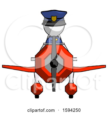 White Police Man in Geebee Stunt Plane Front View by Leo Blanchette
