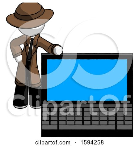 White Detective Man Beside Large Laptop Computer, Leaning Against It by Leo Blanchette